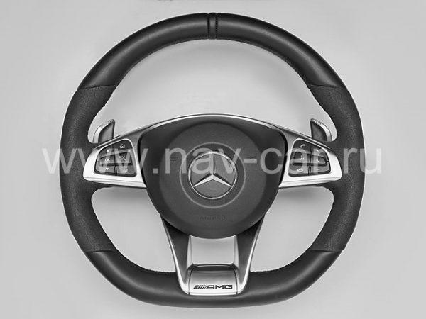 Спортивный руль AMG 45 Mercedes CLA класс C117 с алькантарой