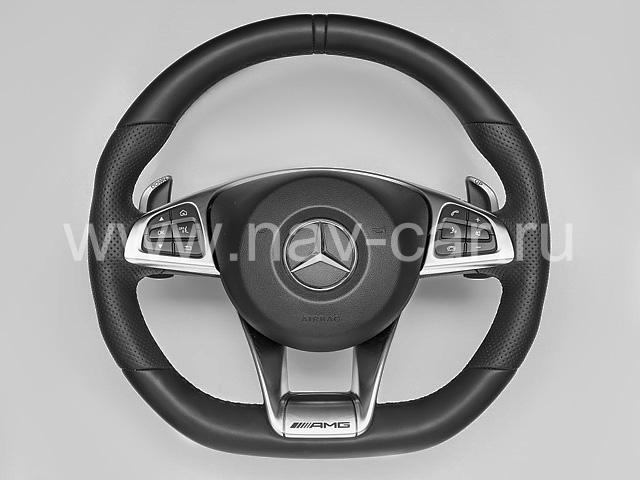 Спортивный руль AMG 6.3 Mercedes GLE с перфорированной кожей