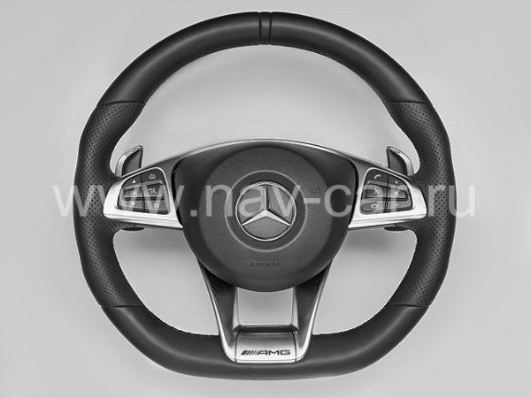 Спортивный руль AMG 45 Mercedes A класс W176 с перфорированной кожей