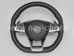 Спортивный руль AMG 6.3 Mercedes GLC с перфорированной кожей